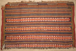 "Qashqai flatwoven large bagface with finely detailed bands of floating-weft-work. Beautiful colors with some cotton highlights. 42""x27"" / 107x69cm"