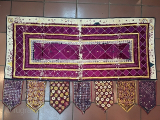 Vintage rare  khatipa Toran wall hanging from morbi city of Gujarat India in  good condition the size of this Tirana is 139 cm X 88cm .