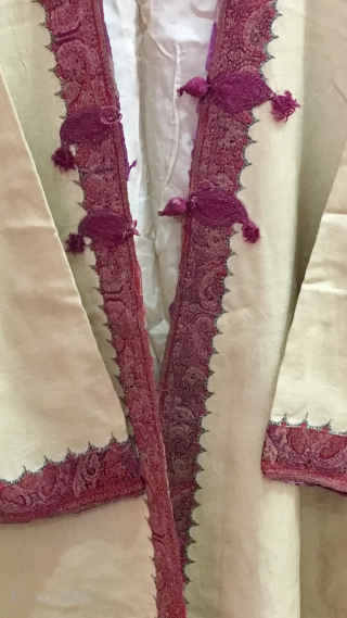 Vintage woollen coat choga  of mid 19th century from Punjab state of India with very fine quality work near neck and hand cuff area .the coat is wearable condition with sizing  ...