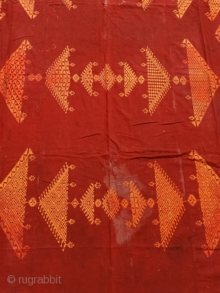 Vintage chope Phulkari in good condition but having stains from Punjab India C.1900.size of chope Phulkari is 118 inches X 70inches.