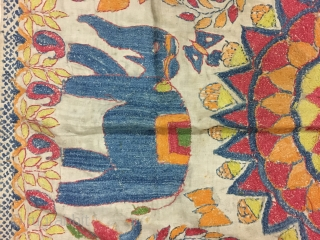 Excellent vintage Kantha from Murshidabad district of West Bengal India with high quality figured work of animals flowers and humans and mango design on the corners , the size of the Kantha  ...