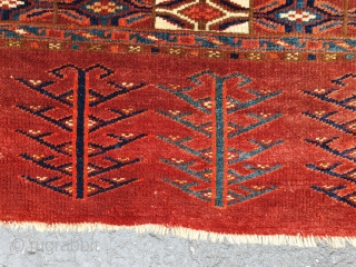 late 19th-century Yomut Chuval, 2.3 x3.4 Ft. Nice Skirt.  All natual colors, as you all know hard it very hard to take pictures with 100% accurate colors.  velvety pile.
