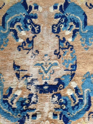 a fantastic small ningxia rug from the first half of the 18th century. beautiful presence of the early light blue in the middle field. the design element, shown as main image, just  ...