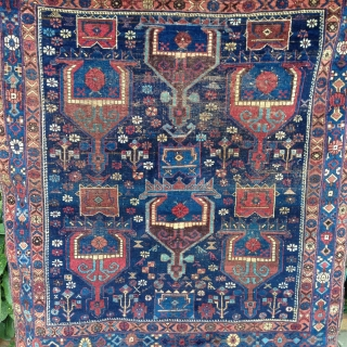 very attractive 19th century afshar squarish rug. very finely woven velvety pile , beautiful colors. one area of lower pile in the upper field area as seen on the images. original selvedge  ...