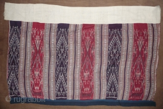 very nice cotton and silk ikat skirt (called spirit skirt, as they are also worn by the shaman), laos, taidaeng tribes, early 20th century, 130x 68cm (not including the new upper white  ...