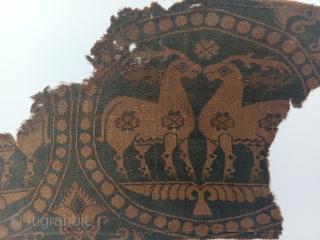early middle age central asian silk samite 7-8th century. very pleasant turquoise green background. note the horns in 2 colors.. very fine like paper , clean and in a very good state of  ...