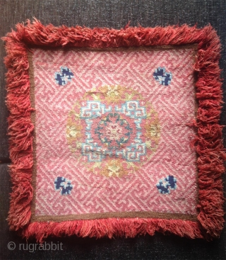 superb tibetan 19th century lama meditation square with wonderful natural soft colors. in very good condition with top quality wool..
