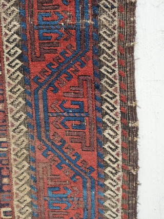 mina khani baluch main rug. all there , corroded brown, a smalloldpatchinthemiddle. depressed warps,velvety pile...heavy