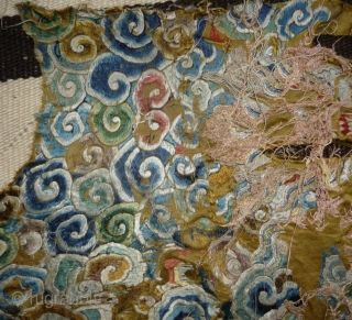 fragment of what should have be one of the most beautiful qing dragon robe; a very rare all embroidered gold yellow ground imperial robe with five claws dragon (see one pic). to  ...