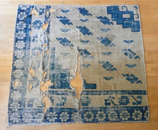 this an early chinese rug in fragmentary condition but this is not a fragment of bigger rug as is is attested by the original ends and selvedge. the fact that it looks  ...