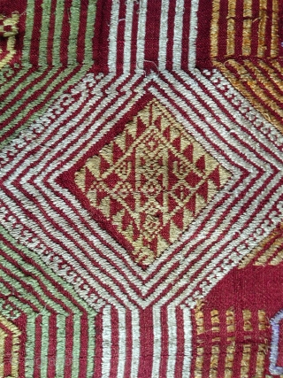 superb lao silk blanket from nothern lao with good age comparing with the common material of this kind you can find these days. great presence and not expensive.