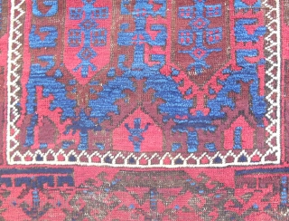 "Timuri Baluch rug. Small (35""x 51""). Good condition, all original. c. 1880. Electric z-z-z-z-z Blue!"