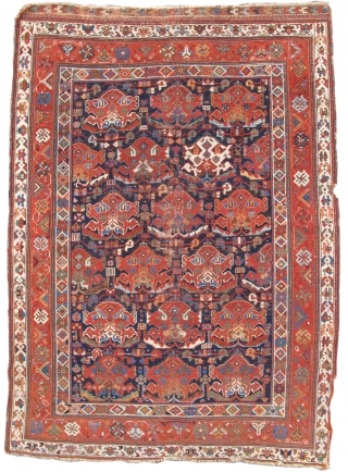 Exquisite, small Afshar rug. Circa 1870. (Compare with the Corwin example)