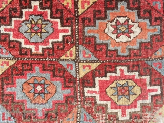 """18th c. Rare """"small"""" format Konya Cappadocia rug. Size is 45"""" x 93"""". Recently sourced in Turkey, cleaned and exquisitely mounted on linen. Extraordinary color combinations. Mostly medium pile. Check out the  ..."""