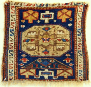 "Northwest Persian (Kurdish) bagface with silky wool(21""x 20""). Mid 19th c."
