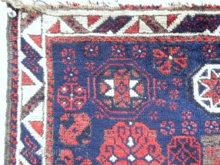 Exceptional and fine, deep blue ground Timuri Baluch bagface. Very good condition. Circa 1850-70.