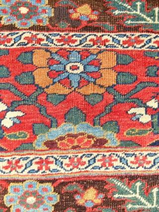 """Bold and dramatic Kurdish """"Bijar"""" large bagface (40"""" x 24""""). Circa 1880. Very good condition."""