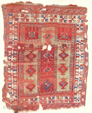 18th C. Western Anatolian (Bergama) prayer rug with pistachio green. Only other example I have found is in the Vakiflar museum. (4ft x 5ft)