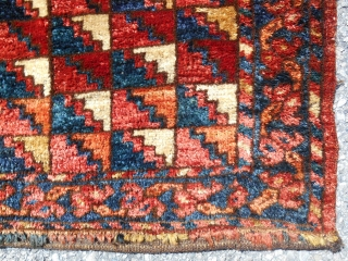 """1850 Ersari bagface. (46""""x 18"""") The most lustrous wool I have ever seen! Stunning color. Great condition.(photos taken in the shade)"""