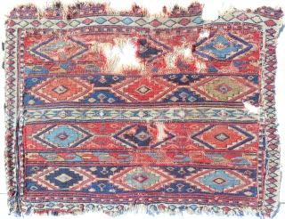 Very fine, early 19th c. Caucasian sumak bagface. Several rare features. OLD colors. For the serious collector.