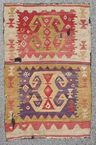 """Circa 1800 Distinctive Southeast Anatolian kilim fragment (42""""x 65""""). Full width. Clean and mounted. Resplendent colors!"""