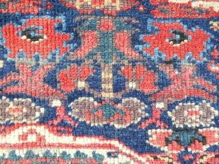 "Very large (50""x 33"") Sanjabi Jaf Kurdish bagface. Circa 1870-80. All original. Good overall condition with soft wool. Unusual drawing."
