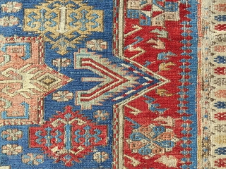 Extraordinary, early to mid 19th c. Caucasian Sumak rug. About 5 x 7ft. Exquisite color. Superb archaic drawing. A truly splendid, rare example. All original.