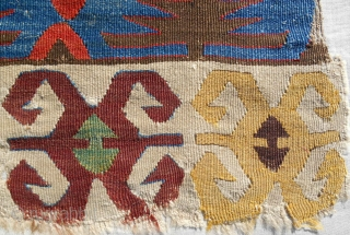 Central Anatolian kilim panel (21 x 70 in). Early 19th c. Conserved and mounted. Exceptional color range!