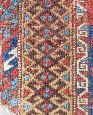 """Extremely rare 18th c. East Anatolian Kurdish rug fragment (38"""" x 60""""). Sourced in Istanbul. Conserved and mounted on linen."""
