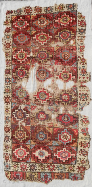 "18th c. Rare ""small"" format Konya Cappadocia rug. Size is 45"" x 93"". Sourced in Turkey, cleaned and exquisitely mounted on linen."
