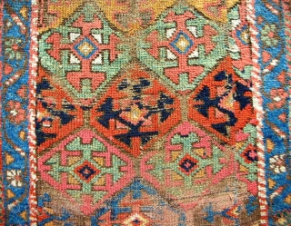 Persian Kurdish Rug Fragment> circa 1850.