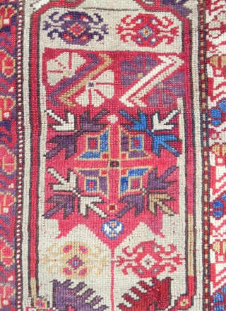 Western Anatolian Melas rug in very good condition. Rare design. Circa 1870. Exceptional color!