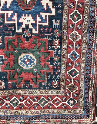 Nice Caucasian rug with Lesghi stars 1900-1910. Overall in reasonable condition, some wear, a few minor holes and tears.  As found, in need of a wash.  155x260 cm.