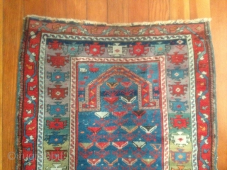 """Caucasian prayer rug, late 19th, early 20th century. Size is 2' 7"""" x 3' 9"""" including fringe. Well maintained, original condition, no repairs other than an old 2-inch repair to selvage. Has  ..."""