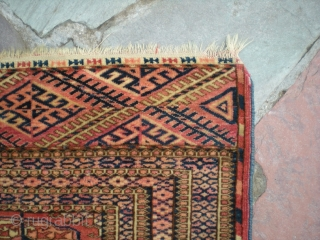 """Antique Tekke Turkmen (Turkoman), later 3rd or 4th quarter 19th century, virtually complete, 4' 1"""" X 3' 8"""". Great color and unique elem design, overall good condition with a few issues. Has  ..."""