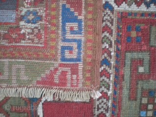 Caucasian Kazak double niche prayer rug, fully restored, full & even pile, unique abrash. Circa late 1800's-1900; colorful & interesting piece. Very usable on floor, or warm & striking wall piece. Size  ...