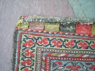 """Kurdish bag fragment, 2' 4"""" X 1' 6"""". Superb colors and fine weave, no repairs, very even pile, loss on lower end only. Affordable addition to a collection, nice wall piece. Inquiries,  ..."""