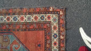 "Caucasian Cloud Band Karabagh 'Kazak', 6' 9"" X 4' 3"", Nice design and colors, especially shimmery copper field color. Tear in center has been conserved (not rewoven or fully restored), small corner  ..."