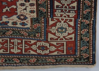 "Unique design elements in this Caucasian piece (Shirvan?). 6' 0"" x 4' 1"" Overall good condition with some re-piling done, scattered minor, mostly oxidized wear; still very serviceable rug with lots of  ..."