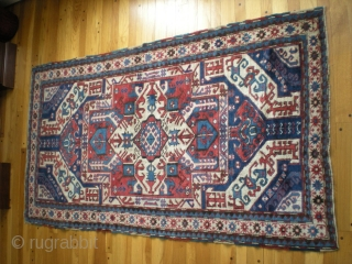 "Caucasian Karabagh Kasim Ushag (or Ushak, Ushaq if you prefer)...likely very early 1900's, colorful rug with some repairs/repiling. Excellent, if not all original condition. Size 6' 9"" x 3' 3"". Please call  ..."