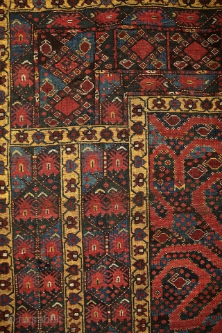 Mythic turkmen Beshir 'snake/dragon/cloudband' main carpet from the 19th century.  Have you ever seen such a complex border system on that type? Dozens of scorpions (?) in border's partly blue water. The  ...