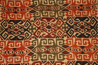 """Lakai Uzbek kilim, Uzbekistan, early 20th or late 19th century, 168x285cm Beautiful lakai embroidery on a softly wowen """"wool on wool"""" ivory ground. Absolutely unusual (unknown until now for me), vibrating and very  ..."""