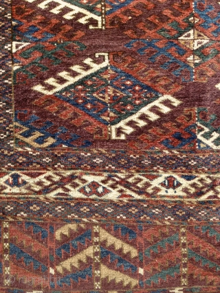"""Yomud """"Dyrnak"""" main rug, 2nd half of 19th cent., 315X215cm, wool on wool, 9x3 dyrnak guls in beautiful variations of greens, blues, brick-reds, yellows and whites on a light brick red ground.  ..."""
