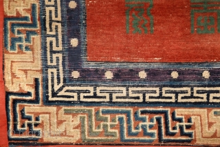 "Mytical chinese? monastry carpet, first half of 19th century,  absolutely unusual main field full of (probably) longevity ""shou"" and ""fuo"" symbols around 5 mystic floating medallion. Exceptionally drawn 3 dimensional swastika  ..."