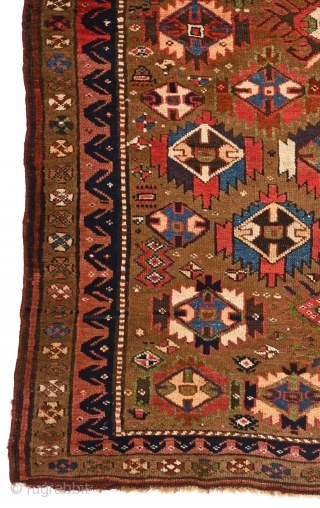 """If there is a virtue in the world at which we should always aim, it is cheerfulness."" Edward g. Bulwer-Lytton. Joyful 'Sauj Bulagh' kurdish tribal rug, North-west Persia, 19th century, Soft &  ..."