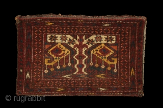Ersari/MAD torba, 62x40 cm around 1900, wool on wool, complete with its original kilim back, good pile overall, no repair. Absolutely strange and unusual design as a bag, there are a few  ...