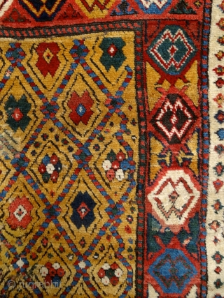 """Sleep is the best meditation."" - Dalai Lama. 'Yatak'/sleeping rug, Caucasus, Zakatala, early 1800's. Extremly meaty/long pile all over, old reapirs as you can see on the pics, glowing / saturated /  ..."