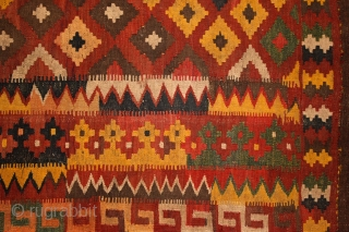 Meymaneh / Maimana kilim, Afghanistan, early 20th century, 325x200 cm, wool on wool, some old repairs here&there, otherwise complete, great, strong organic dyes, thick wool, can be used even under heavy traffic.  ...