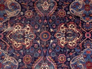 Yazd carpet, Persia, early 20th century, 4x3 m. Except the few worn spots, which can be seen on the pics, it has great, silky, soft pile. Freshly washed, clean & soft. Ready  ...