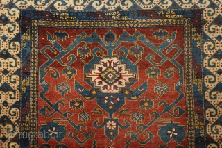 Daghestan rug, 2nd half of 19th century, wool on wool, 140x110 cm, wonderful, rare (unknown for me until now) border, harmonious colouring and very well balanced, spacious, ultra graphic drawing in the  ...